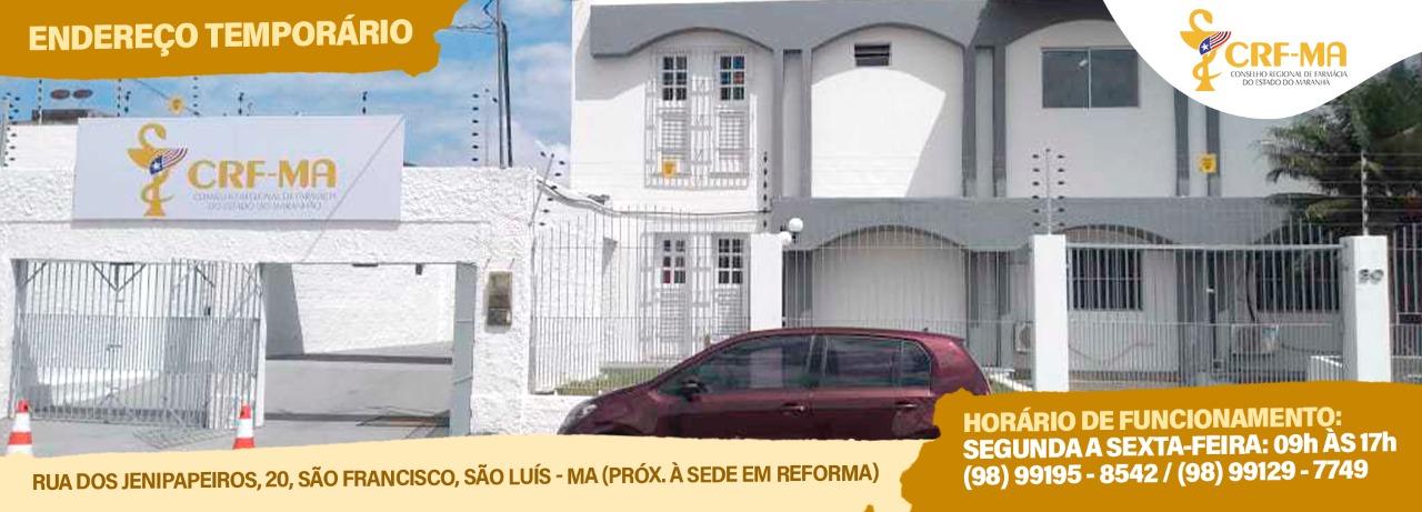 Confira no mapa, o endereço temporário do CRF-MA em São Luís