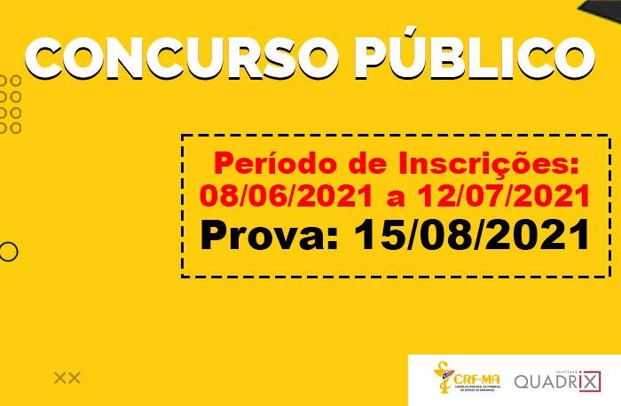 CRF-MA divulga informações sobre o CONCURSO PÚBLICO para Farmacêutico Fiscal e Assistente Administrativo